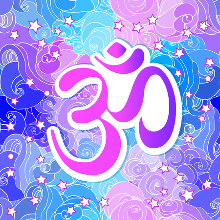 Ohm symbol, Indian Diwali spiritual sign Om over Mandala. Beautiful vintage round pattern. Vector illustration. Psychedelic neon composition. Indian yoga, spirituality. Sticker, patch, poster. Illustration