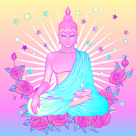 Sitting Buddha over sacred geometry background. Vector illustration. Psychedelic neon composition. Indian, Buddhism, Spiritual Tattoo, yoga, spirituality. Sticker, patch, poster graphic design.