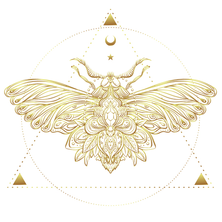 nocturne: Gold and white decorative vector illustration of moth isolated on white over sacred geometry lines. Golden stickers, flash temporary tattoo. Nature, spirituality, occultism, alchemy, magic concept.