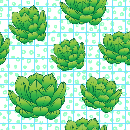 Seamless abstract geometric pattern with green succulents. Retro 1980s, 1990s style. Memphis inspired design for textiles and fabrics, wrapping paper and wallpapers. Vector illustration, bright colors