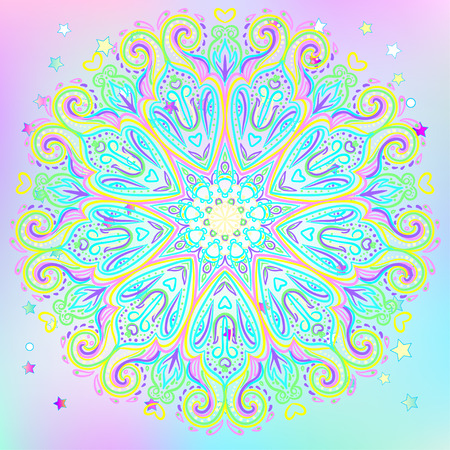 tantra: Mandala. Beautiful vintage round pattern. Vector illustration. Psychedelic neon composition. Indian, Buddhism, Spiritual Tattoo, yoga, spirituality. Sticker, patch, poster graphic design.