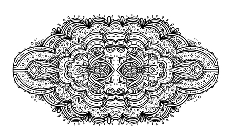 oriental rug: Beautiful India inspired Bohemian floral seamless patter. Vector. Henna tattoo style background. Titled ethnic art, patterned Indian paisley. Vintage ornate wallpaper or fabric. black and white.