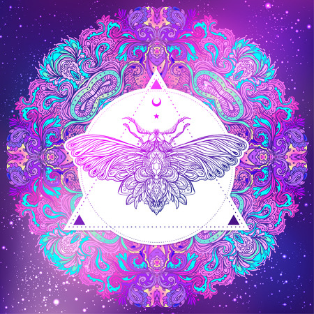 a nocturne: Moth over mandala. Beautiful vintage round pattern. Vector illustration. Psychedelic neon composition. Indian, Buddhism, Spiritual Tattoo, yoga, spirituality. Sticker, patch, poster graphic design.
