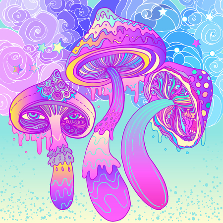 Magic mushrooms. Psychedelic hallucination. Vibrant vector illustration. 60s hippie colorful art.  イラスト・ベクター素材