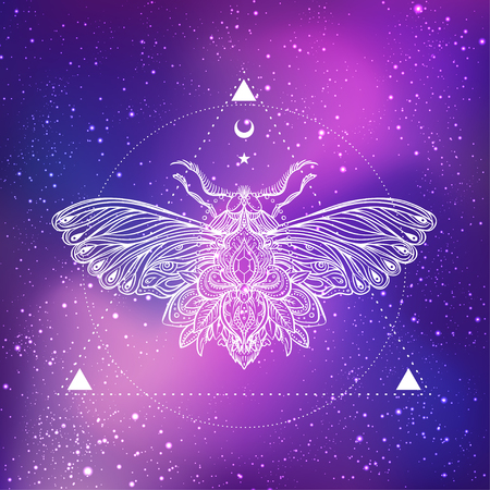 Moth over mandala. Beautiful vintage round pattern. Vector illustration. Psychedelic neon composition. Indian, Buddhism, Spiritual Tattoo, yoga, spirituality. Sticker, patch, poster graphic design.