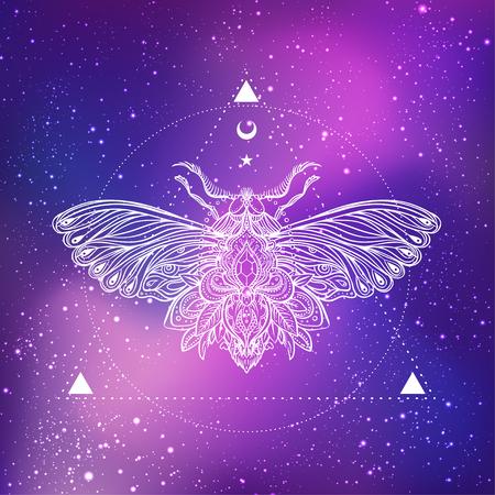 Polilla sobre mandala. Patrón redondo de la vendimia hermosa. Ilustración del vector. Composición psicodélica del neón. Indio, budismo, tatuaje espiritual, yoga, espiritualidad. Etiqueta engomada, remiendo, diseño gráfico del cartel.