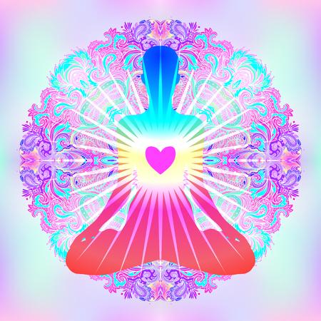 Concepto de chakra del corazón. Amor interior, luz y paz. Silueta en posición de loto sobre colorido mandala adornado. Ilustración vectorial aislado en blanco. Motivos esotéricos del budismo. Tatuaje, yoga espiritual.