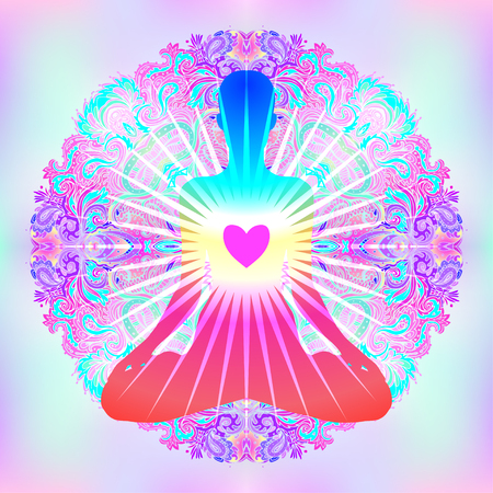 Herz Chakra Konzept. Innere Liebe, Licht und Frieden. Silhouette in Lotus-Position über bunten verzierten Mandala. Vektor-Illustration isoliert auf weiß. Buddhismus esoterische Motive. Tätowierung, geistiges Yoga.