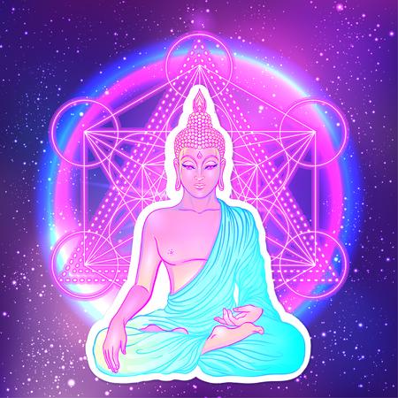 Seduto Buddha sopra sfondo geometrico sacro. Illustrazione vettoriale. Composizione neonica psichedelica. Indiano, buddismo, tatuaggio spirituale, yoga, spiritualità. Adesivo, patch, poster grafico. Vettoriali