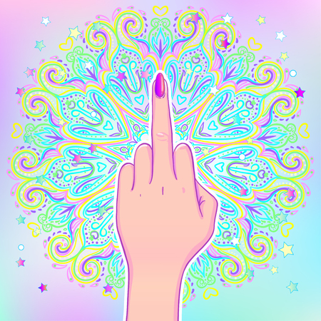 Female hand showing middle finger over mandala, beautiful vintage round pattern. Vector illustration. Psychedelic neon composition. Indian. Sticker, patch, poster graphic design. Illustration
