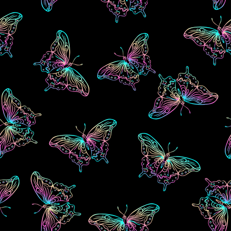 Seamless pattern with butterflies on black background. Highly detailed repetition background for textile, wrapping paper, wallpaper. Isolated vector illustration. Magic, science, astrology, alchemy.