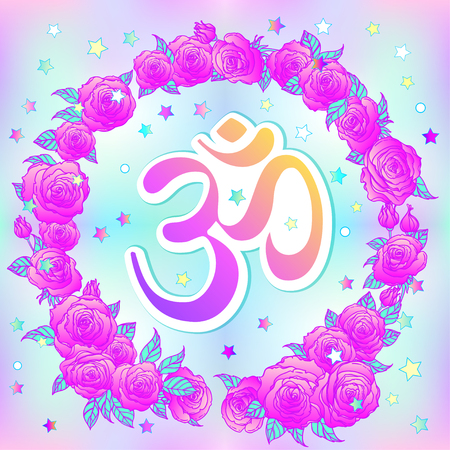 sanskrit: Hand drawn Ohm symbol, Indian Diwali spiritual sign Om over colorful ornate roses background. Vector illustration. Hinduism, Spiritual tattoo, yoga, spirituality. Sticker, patch, poster design.