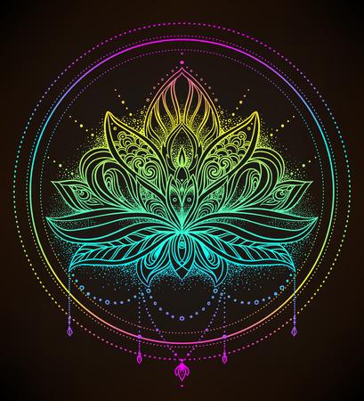 Vector ornamental Lotus flower, ethnic art, patterned Indian paisley. Hand drawn illustration isolated on black. Invitation element. Tattoo, astrology, alchemy, boho and magic symbol.