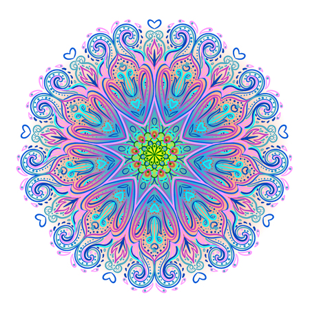 Vector ornamental mandala inspired ethnic art, patterned Indian paisley. Hand drawn illustration. Invitation element. Tattoo, astrology, alchemy, boho and magic symbol.