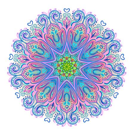 Vector ornamental mandala inspiriert ethnischen Kunst, gemusterten indischen Paisley. Hand gezeichnet Illustration. Einladungselement. Tattoo, Astrologie, Alchimie, Boho und Magisches Symbol. Standard-Bild - 79141099