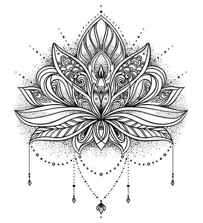 Vector ornamental Lotus flower, ethnic art, patterned Indian paisley. Hand drawn illustration. Invitation element. Tattoo, astrology, alchemy, boho and magic symbol.