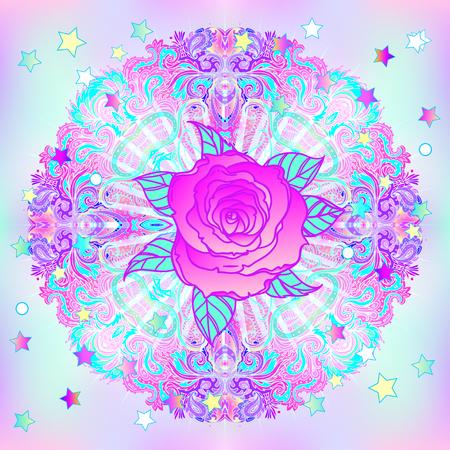 Retro vintage 80s of 90s geometrische stijl abstracte achtergrond met roze bloem. Ontwerp voor textiel, t-shirt print ontwerp, flyer, poster. Futuristische vectorillustratie in heldere neonkleuren.