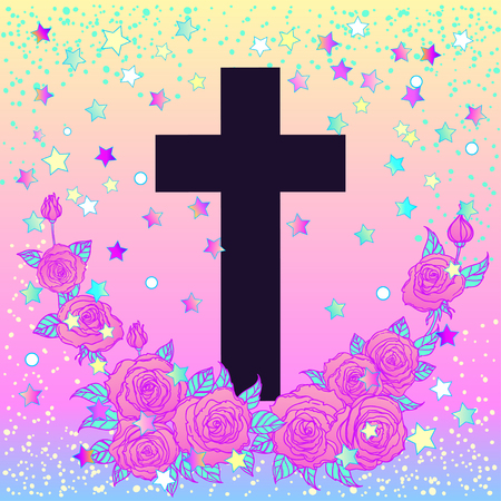 gothic style: Vanilla cross. Glamour Halloween background in neon pastel colors. Cute gothic style. Colorful rainbow concept. Illustration