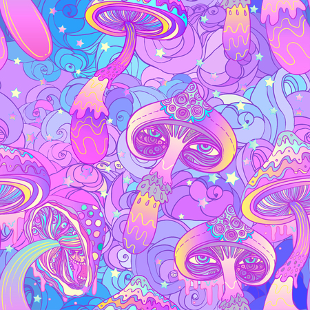 Magic mushrooms seamless pattern. Psychedelic hallucination. Vibrant vector illustration. 60s hippie colorful art.