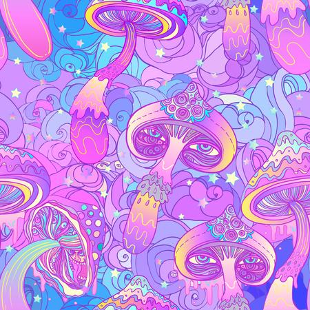 Magische paddestoelen naadloos patroon. Psychedelische hallucinatie. Levendige vector illustratie. 60s hippie kleurrijke kunst.