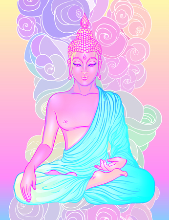 gothic style: Sitting Buddha over sacred geometry background. Vector illustration. Psychedelic neon composition. Indian, Buddhism, Spiritual Tattoo, yoga, spirituality. Sticker, patch, poster graphic design.