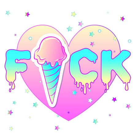 insulting: Valentines Day concept.Vector illustration in pink pastel goth colors isolated on white. Sticker, patch, poster graphic design. Kawaii card design. Ice cream waffle cone over heat shape.