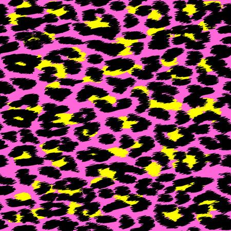Trendy Leopard o piel de guepardo patrón transparente, fondo de piel de animal, vector de fondo en colores de neón. Diseño de la tela, papel de embalaje, textil.