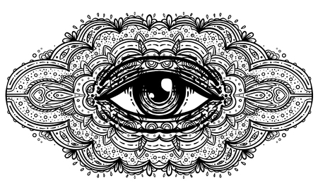 All seeing eye in ornate mandala inspired pattern. Mystic, alchemy, occult concept. Design for music cover, t-shirt, boho poster, flyer. Astrology, shamanism, religion. Coloring book pages for adults Illustration
