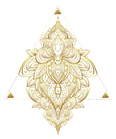 Vintage golden vignette in Oriental style. Line art element for design, isolated on white. Ornamental patterns for Golden stickers, flash temporary tattoo, mehndi and yoga design, boho, magic symbol.