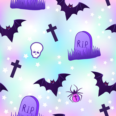 gothic style: Kawaii funny spooky seamless pattern. Halloween wrapping paper background in neon pastel colors. Cute gothic style. Vanilla rainbow concept.