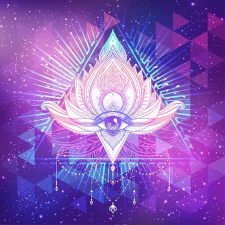 Todo el ojo que ve en flor de loto ornamental del vector del loto, arte étnico, paisley indio modelado. Ilustración dibujada a mano. Elemento de la invitación. Tatuaje, astrología, alquimia, boho y símbolo mágico.