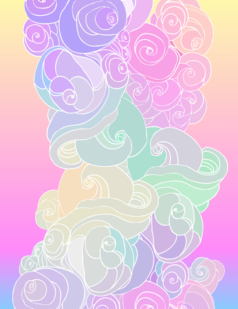 Vector color abstract hand-drawn pattern with waves and clouds in neon pastel colors. Retro gothic style. Colorful rainbow concept.