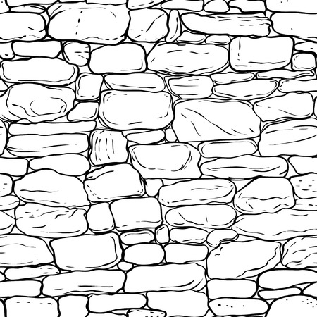 Vector hand-drawn texture of brick wall or sett (paving). Seamless pattern of paver.