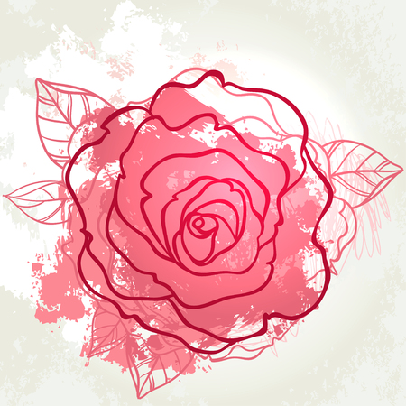 Beautiful roses bouquet drawing on beige grunge background. Hand drawn vector highly detailed line art illustration over watercolor painted texture.