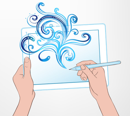 stylus: Digital art creating: technology concept. Portable tablet and human hand drawing intricate doodles sketchy composition with pen, vector illustration with watercolor isolated on white.