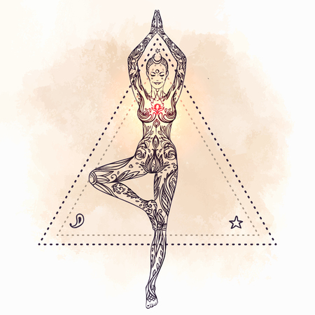 tantra: Young pretty girl doing yoga. Vrikshasana: tree posture, Hand drawn vintage vector illustration over sacred geometry background.