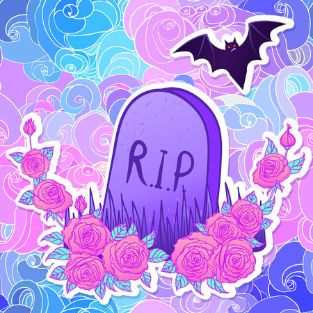 gothic style: Tombstone, bat, roses. Glamour Halloween background in neon pastel colors. Cute gothic style. Colorful rainbow concept.