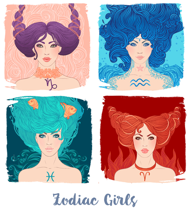 Zodiac girls set: vector illustration of astrological signs as a beautiful woman.