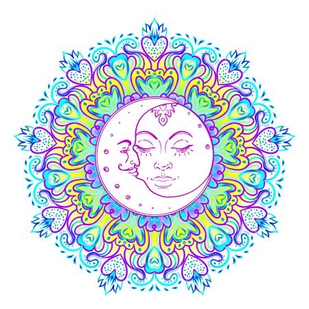 Sun Moon symbolen als een gezicht in versierde kleurrijke mandala. Rond patroon.