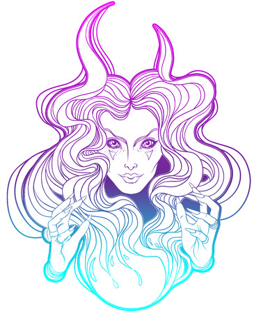 occultism: Young beautiful witch. Mystic character. Alchemy, religion, spirituality, occultism, tattoo art. Isolated vector illustration. Illustration