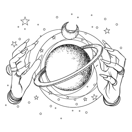 Human hand with space and sacred geometry symbols. Dot work tattoo flash design. Illustration