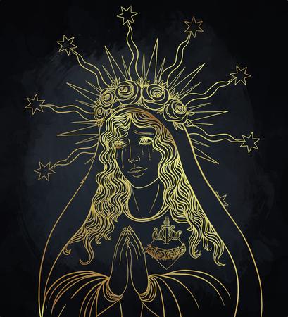 Frau der Trauer. Hingabe an das Unbefleckte Herz der seligen Jungfrau Maria, Königin des Himmels. Vektor-Illustration isoliert.