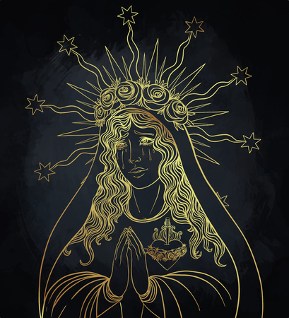 Lady of Sorrow. Devotion to the Immaculate Heart of Blessed Virgin Mary, Queen of Heaven. Vector illustration isolated. Vettoriali