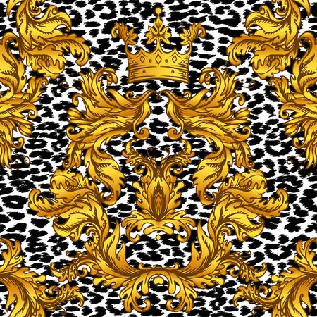 Baroque golden seamless pattern over leopard or cheetah skin titled background, fancy animal fur and glamorous elements, vector illustration. Luxury concept. Ilustração