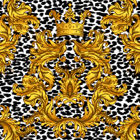 Baroque golden seamless pattern over leopard or cheetah skin titled background, fancy animal fur and glamorous elements, vector illustration. Luxury concept. Illustration