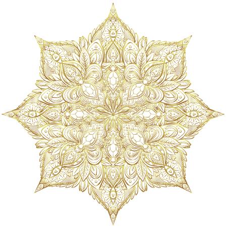 Vintage golden vignette in Oriental style. Line art element for design, isolated on white.