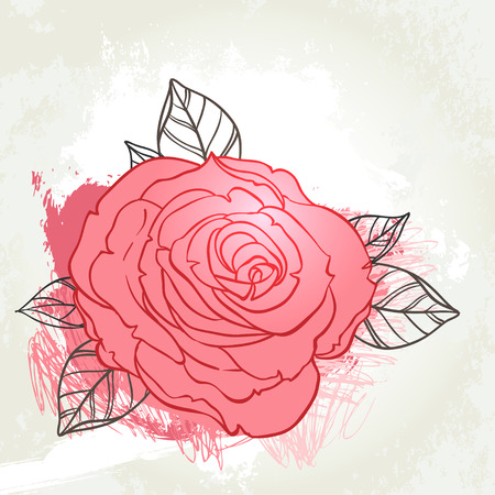 rust red: Beautiful roses bouquet drawing on beige grunge background. Hand drawn vector highly detailed line art illustration over watercolor painted texture.