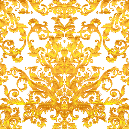 Vintage baroque floral seamless pattern in gold over white. Ornate vector decoration. Luxury, royal and Victorian concept.