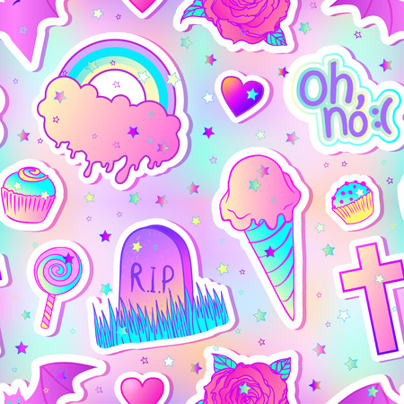 Colorful seamless pattern: candies, sweets, rainbow, icecream, tombstone, cross, lollipop, cupcake, rose, bat. Vector illustration. Stickers, pins, patches. Halloween pastel colors. Cute gothic style