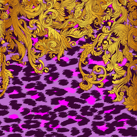 Baroque golden seamless pattern over leopard or cheetah skin titled background, fancy animal fur and glamorous elements, vector illustration. Luxury concept. Fabric design, wrapping paper, textile.